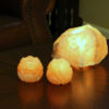 Pair of Lotus Flower Himalayan Salt Candle Holders with Lamp