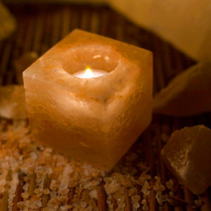 Cube Himalayan Salt Candle Holder